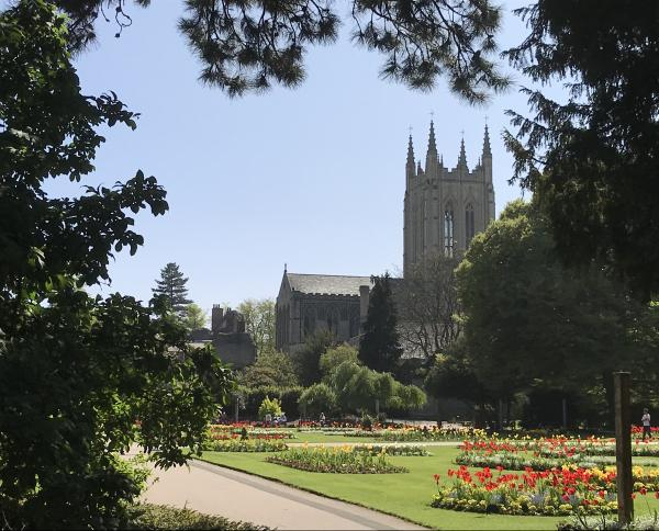 Bury St Edmunds Cathedral from Abbey Gardens.