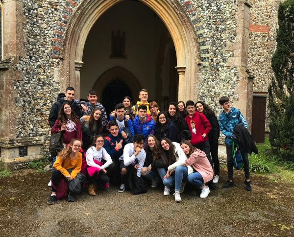 Exchange students from Spain visit St Peter's church Thurston.